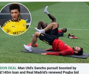 英媒:曼联获1.4亿镑贷款 买桑乔+卖博格巴给皇马